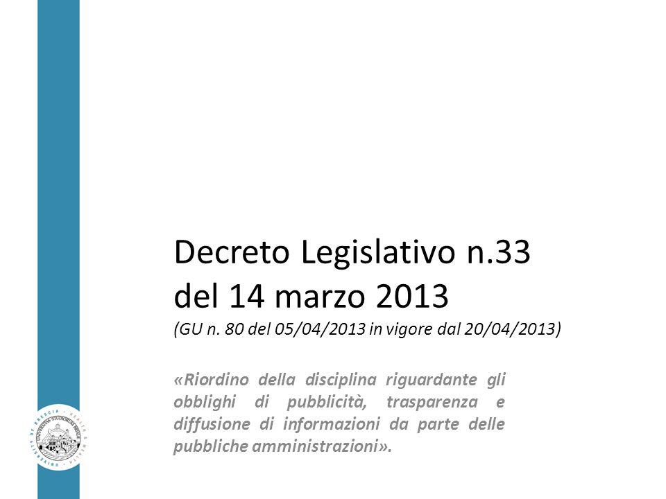 Decreto Legislativo n. 33 del 14 marzo 2013 (GU n
