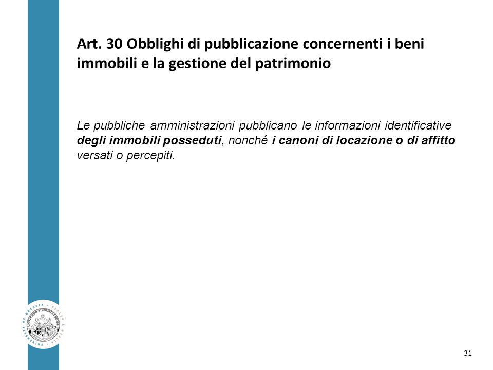 Art. 30 Obblighi di pubblicazione concernenti i beni immobili e la gestione del patrimonio