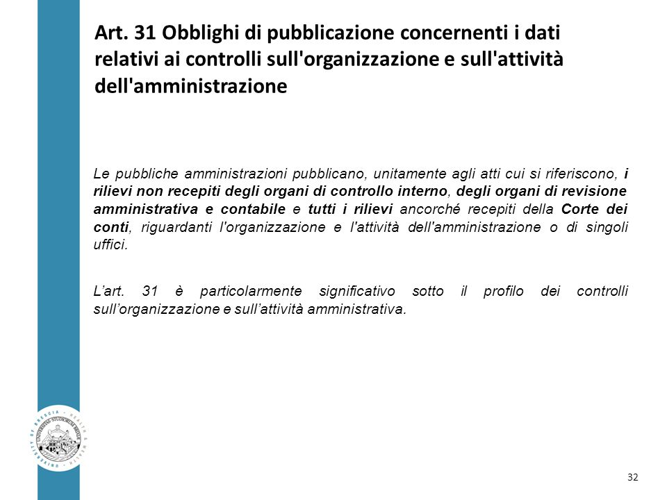 Art. 31 Obblighi di pubblicazione concernenti i dati relativi ai controlli sull organizzazione e sull attività dell amministrazione
