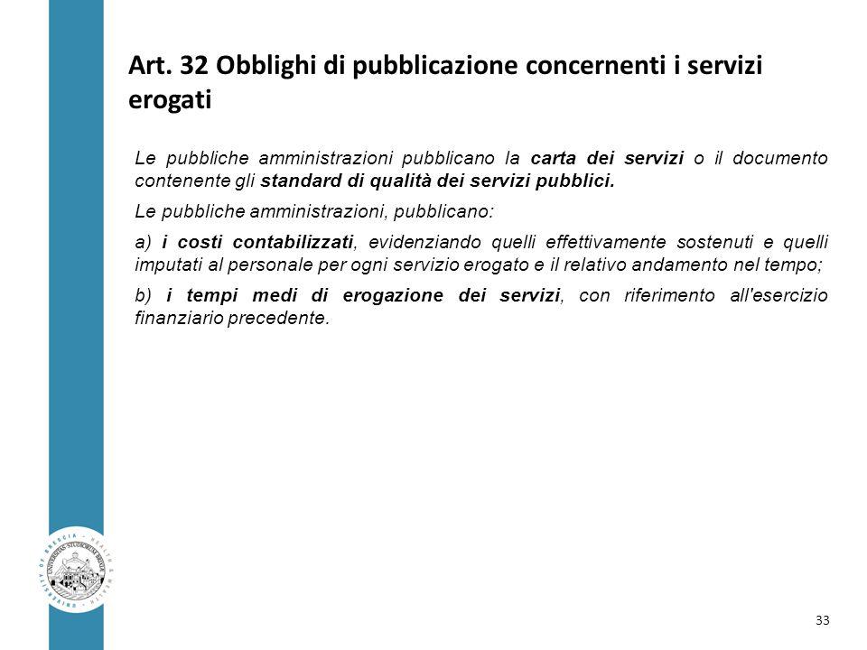 Art. 32 Obblighi di pubblicazione concernenti i servizi erogati