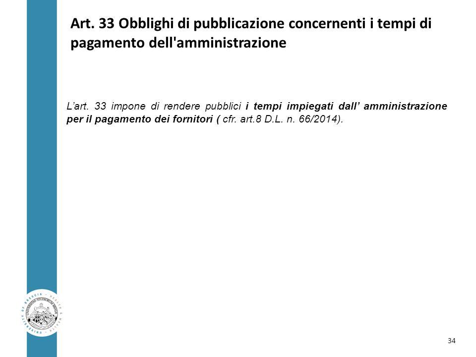 Art. 33 Obblighi di pubblicazione concernenti i tempi di pagamento dell amministrazione