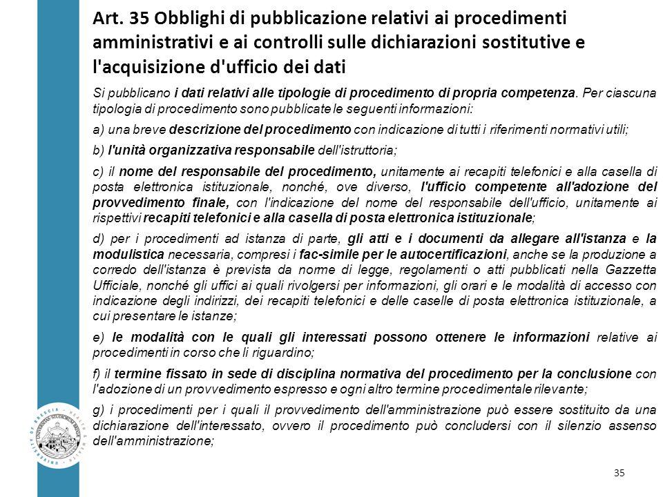 Art. 35 Obblighi di pubblicazione relativi ai procedimenti amministrativi e ai controlli sulle dichiarazioni sostitutive e l acquisizione d ufficio dei dati