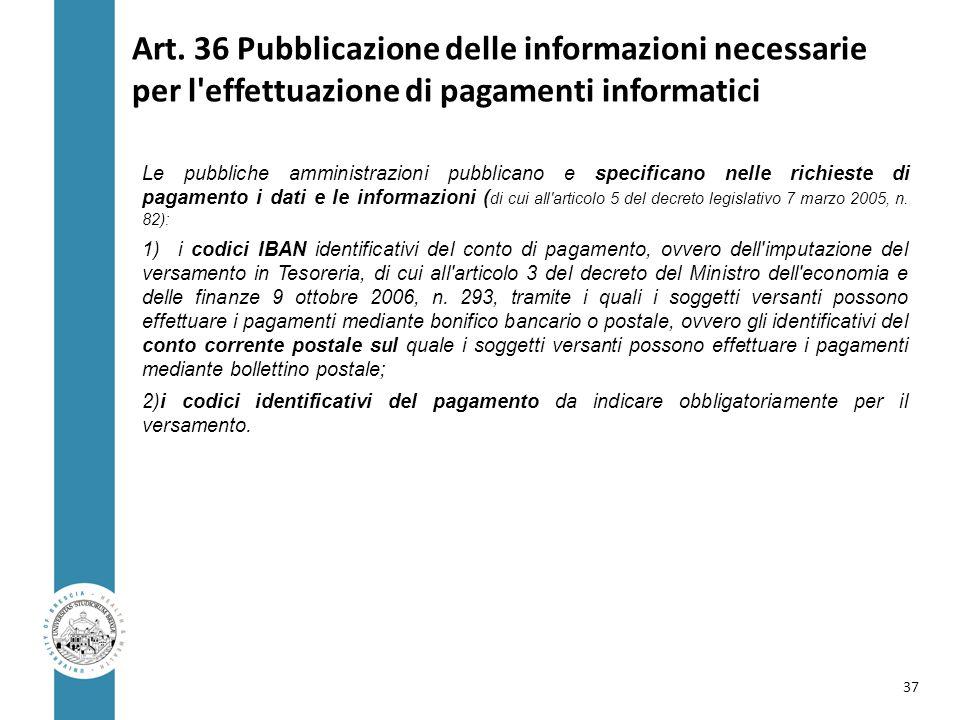 Art. 36 Pubblicazione delle informazioni necessarie per l effettuazione di pagamenti informatici