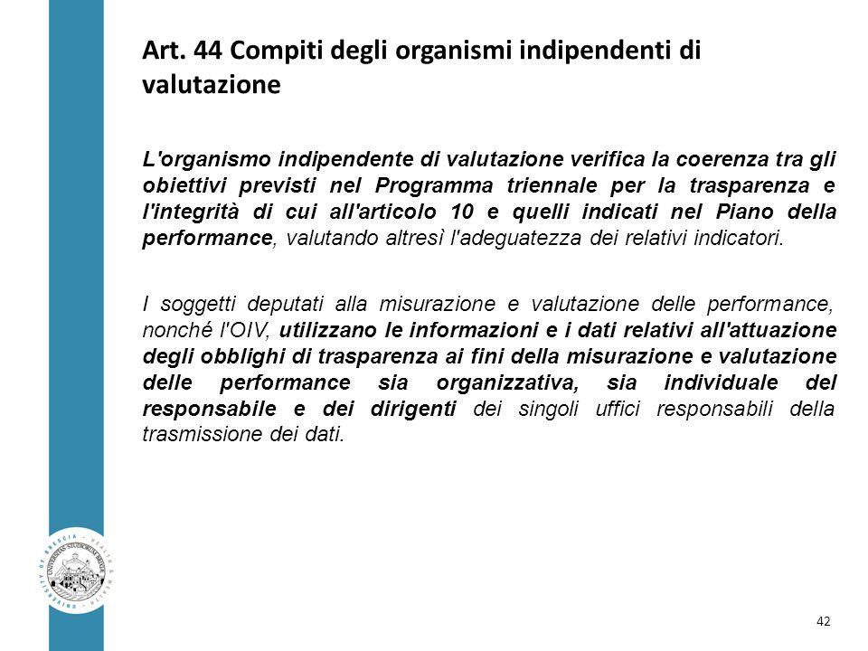 Art. 44 Compiti degli organismi indipendenti di valutazione