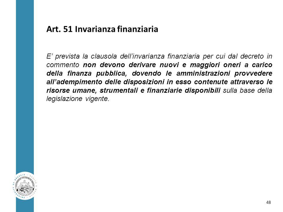 Art. 51 Invarianza finanziaria