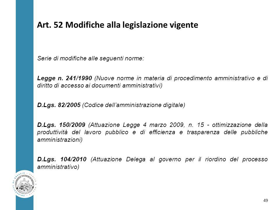 Art. 52 Modifiche alla legislazione vigente