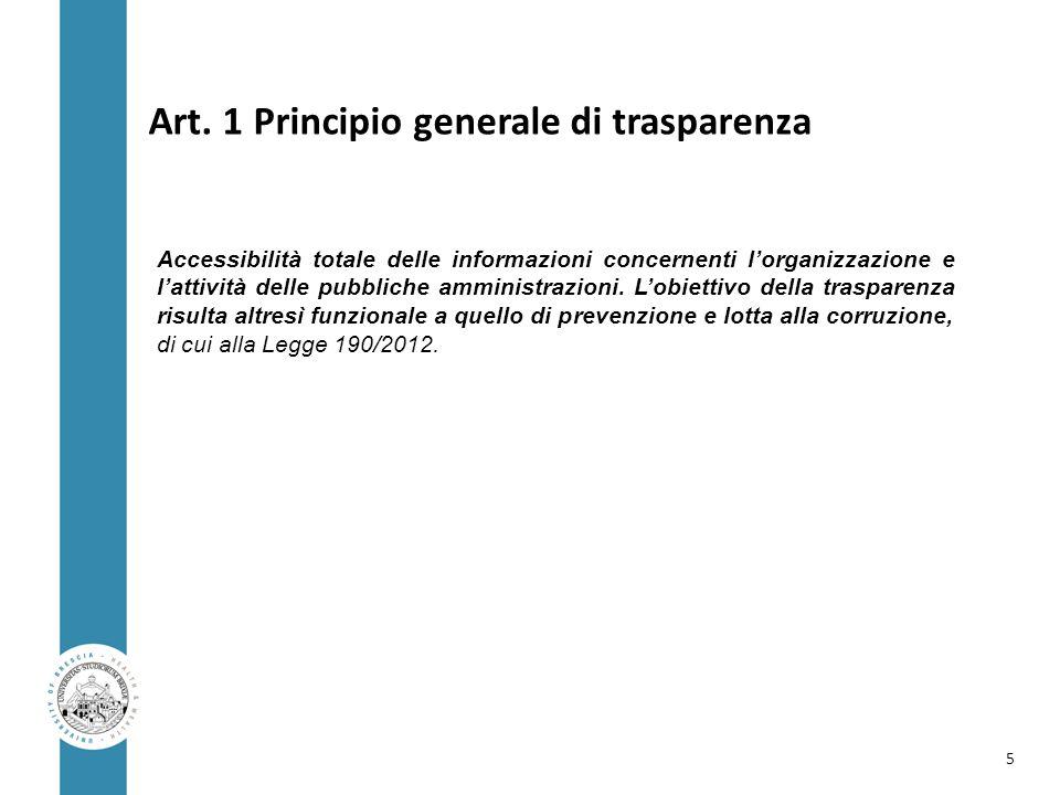 Art. 1 Principio generale di trasparenza