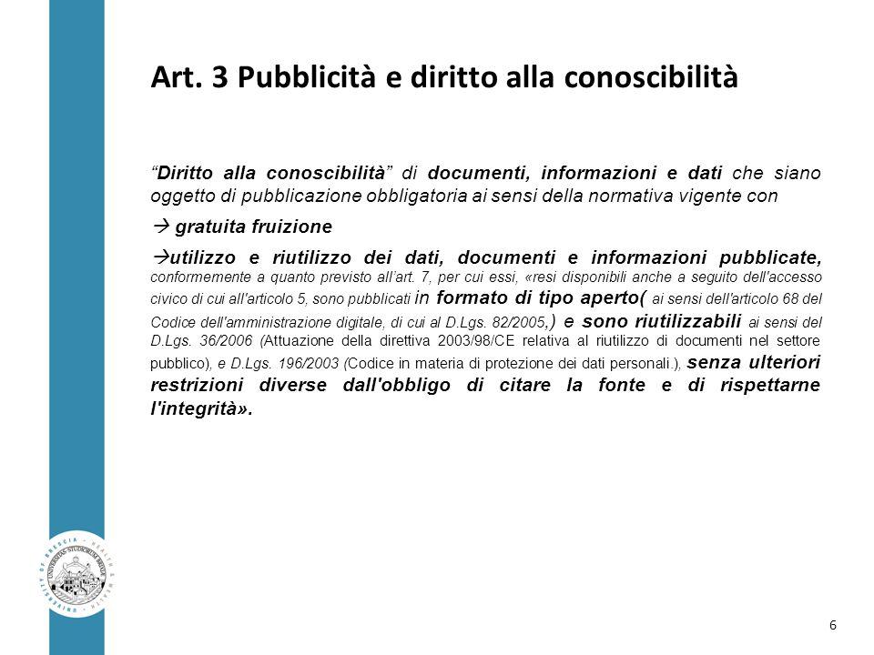 Art. 3 Pubblicità e diritto alla conoscibilità
