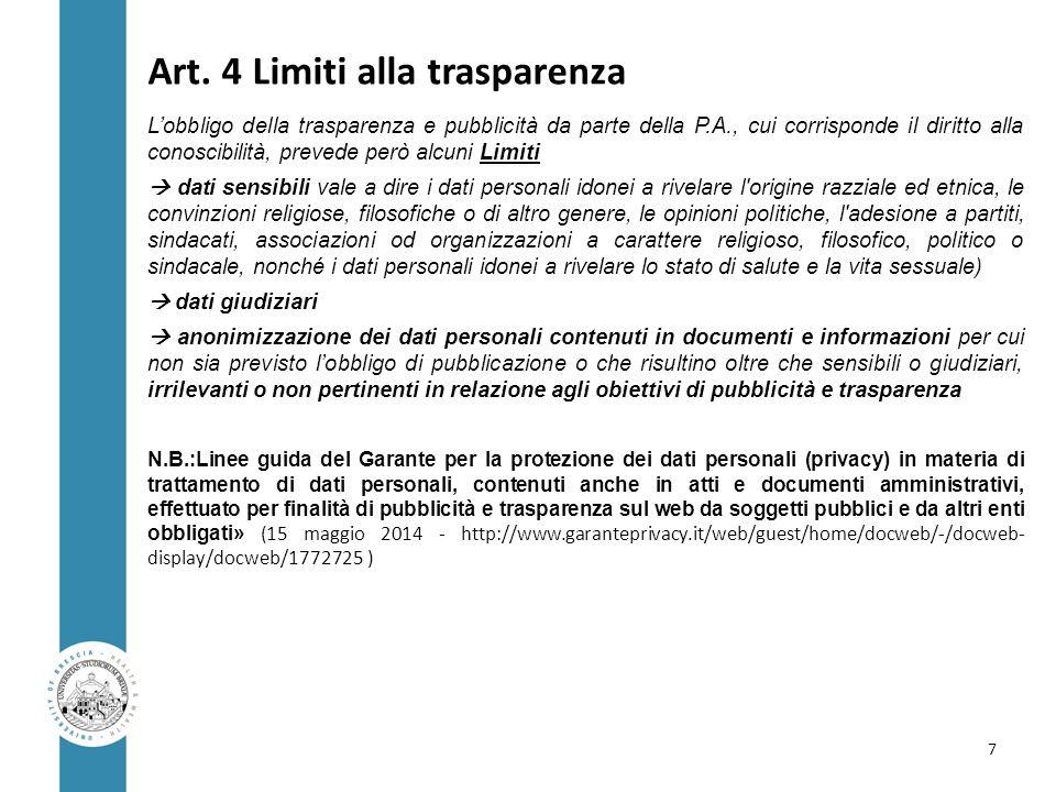 Art. 4 Limiti alla trasparenza