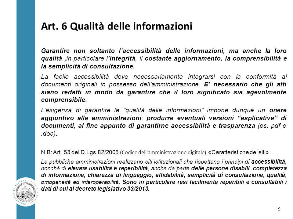 Art. 6 Qualità delle informazioni