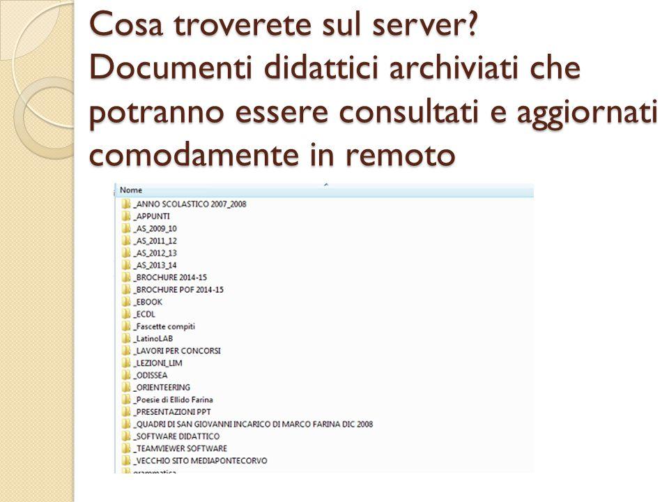 Cosa troverete sul server