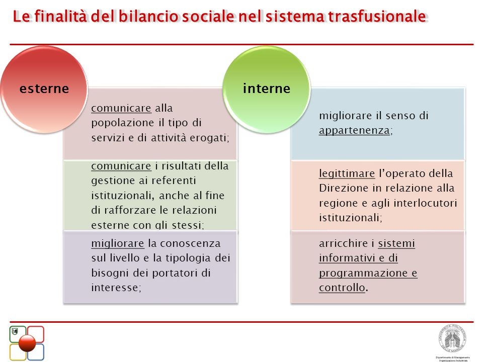 Le finalità del bilancio sociale nel sistema trasfusionale