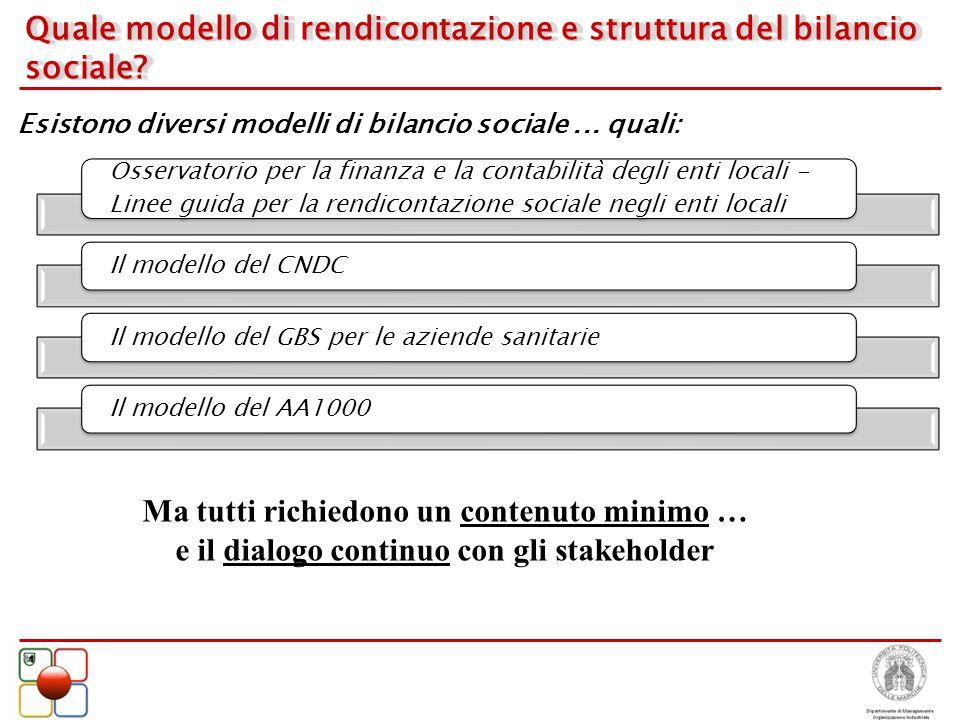 Quale modello di rendicontazione e struttura del bilancio sociale