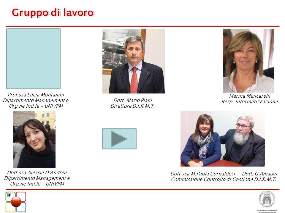 Gruppo di lavoro Prof.ssa Lucia Montanini Marina Mencarelli