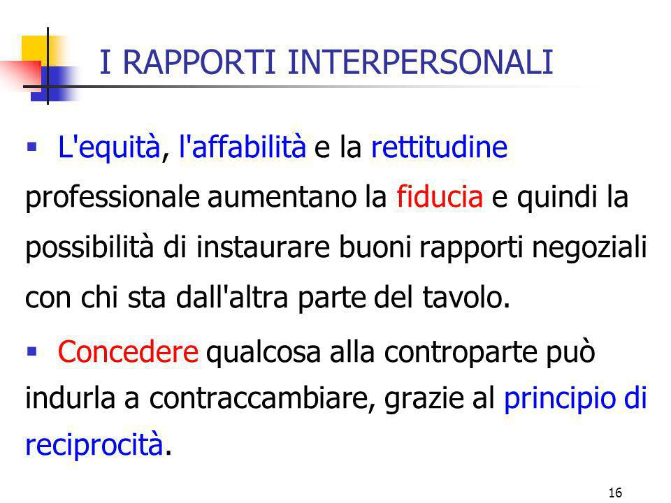 I RAPPORTI INTERPERSONALI