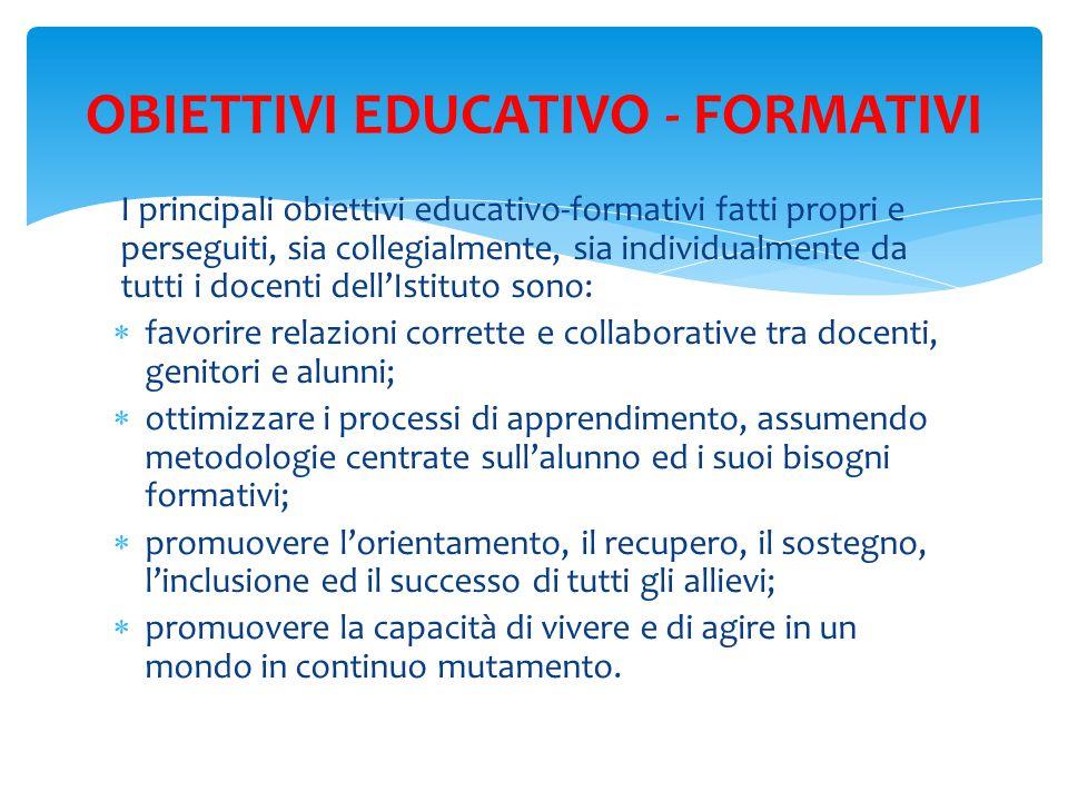 OBIETTIVI EDUCATIVO - FORMATIVI
