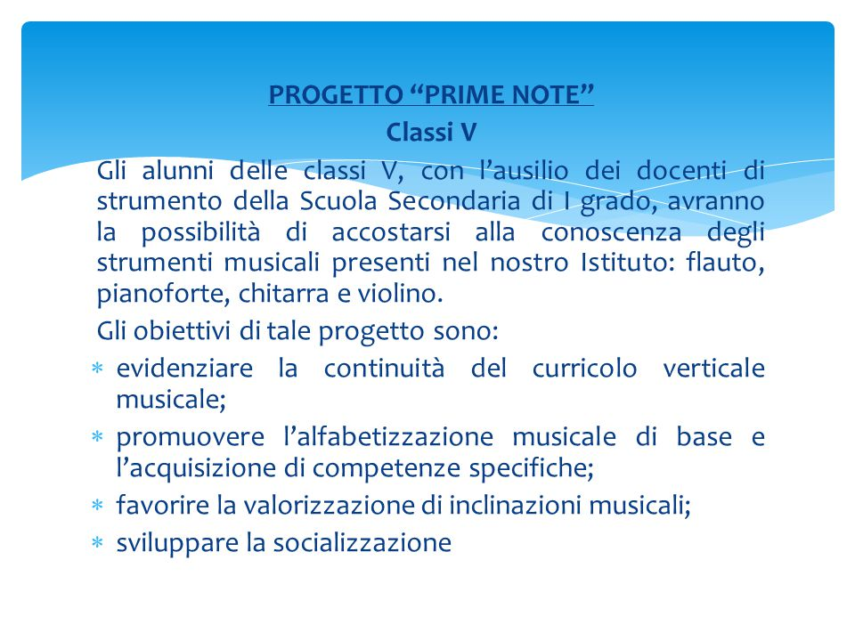 PROGETTO PRIME NOTE Classi V.