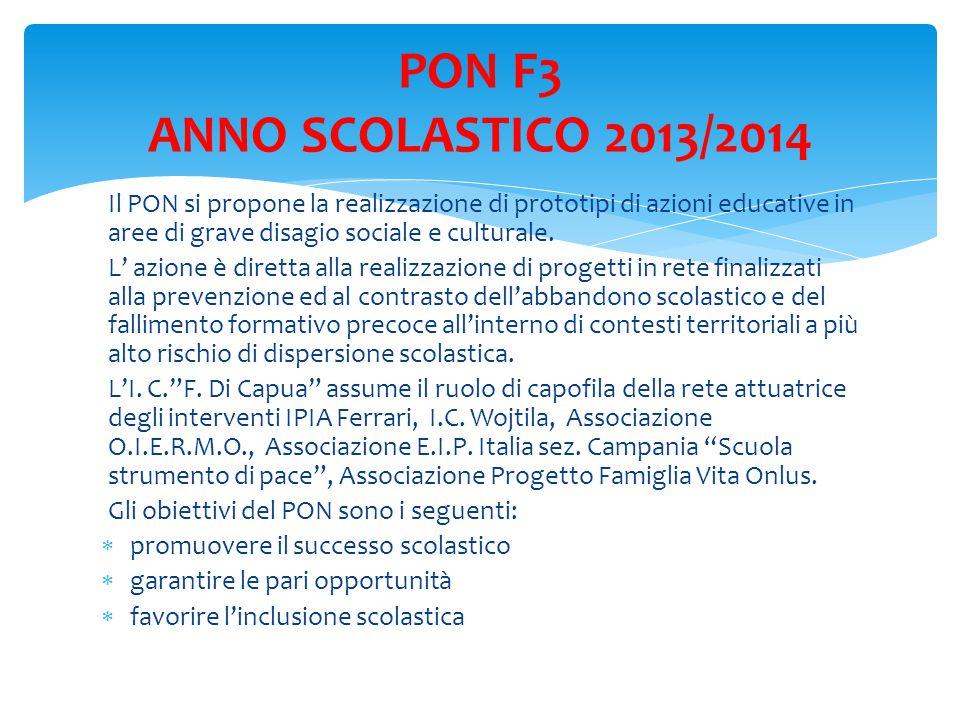 PON F3 ANNO SCOLASTICO 2013/2014 Il PON si propone la realizzazione di prototipi di azioni educative in aree di grave disagio sociale e culturale.