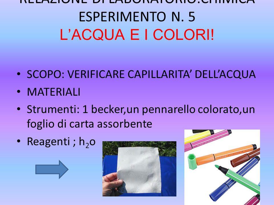 RELAZIONE DI LABORATORIO:CHIMICA ESPERIMENTO N. 5 L'ACQUA E I COLORI!