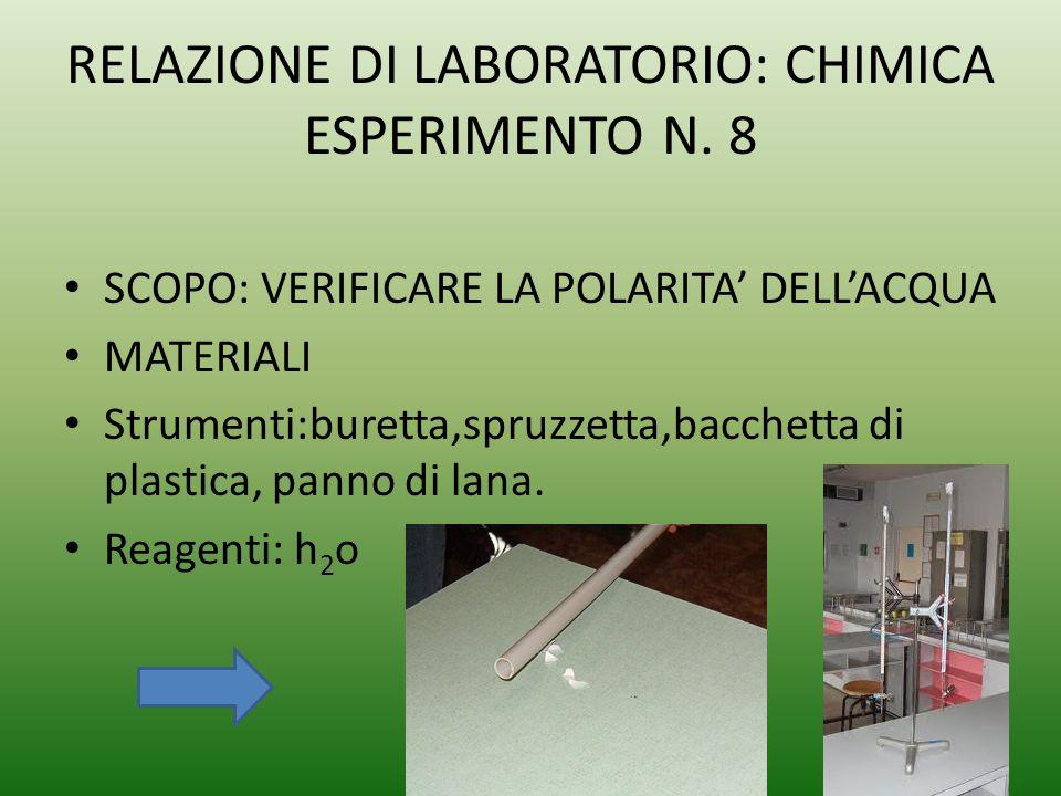 RELAZIONE DI LABORATORIO: CHIMICA ESPERIMENTO N. 8