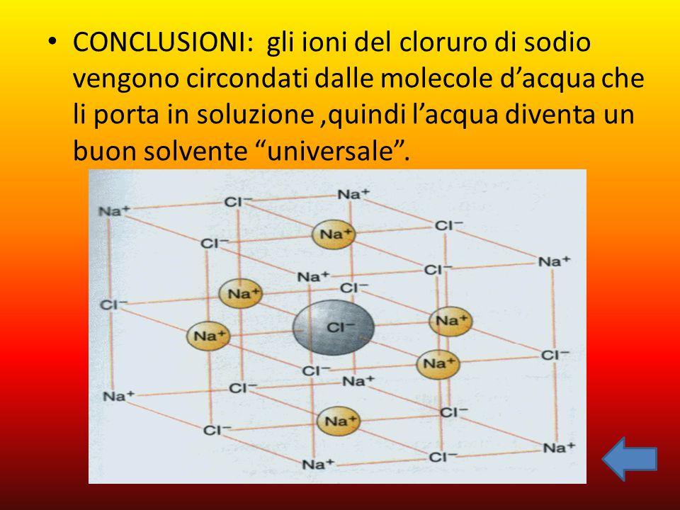 CONCLUSIONI: gli ioni del cloruro di sodio vengono circondati dalle molecole d'acqua che li porta in soluzione ,quindi l'acqua diventa un buon solvente universale .