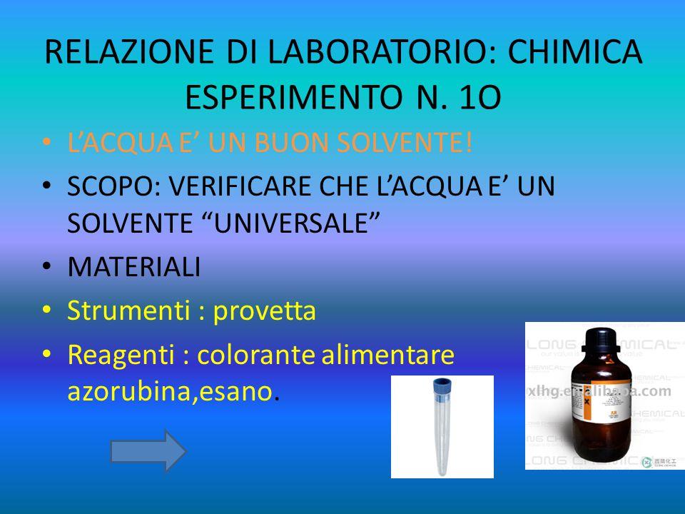 RELAZIONE DI LABORATORIO: CHIMICA ESPERIMENTO N. 1O