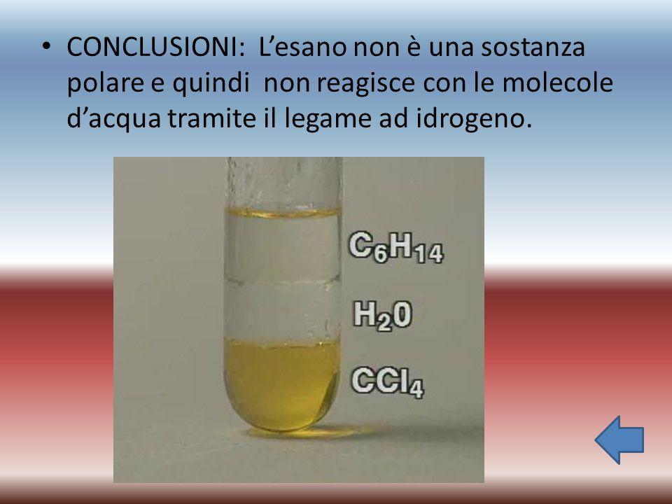 CONCLUSIONI: L'esano non è una sostanza polare e quindi non reagisce con le molecole d'acqua tramite il legame ad idrogeno.