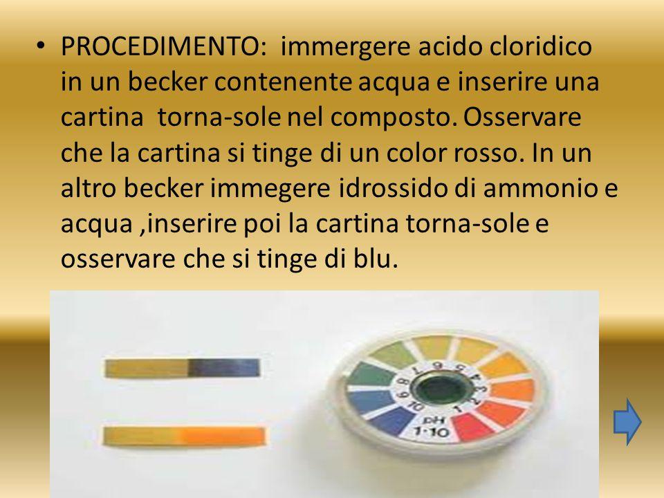 PROCEDIMENTO: immergere acido cloridico in un becker contenente acqua e inserire una cartina torna-sole nel composto.
