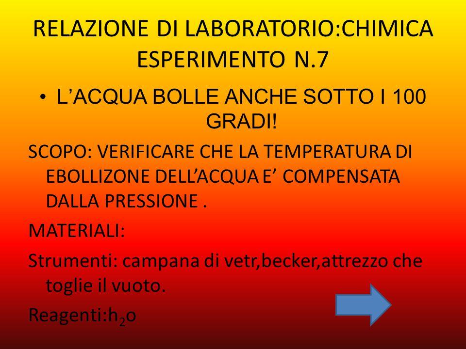 RELAZIONE DI LABORATORIO:CHIMICA ESPERIMENTO N.7