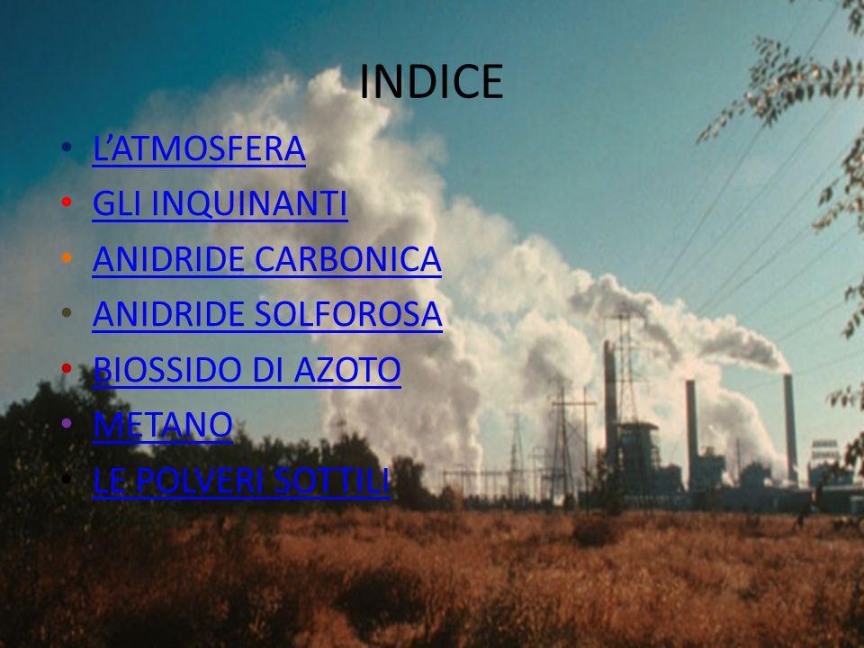 INDICE L'ATMOSFERA GLI INQUINANTI ANIDRIDE CARBONICA
