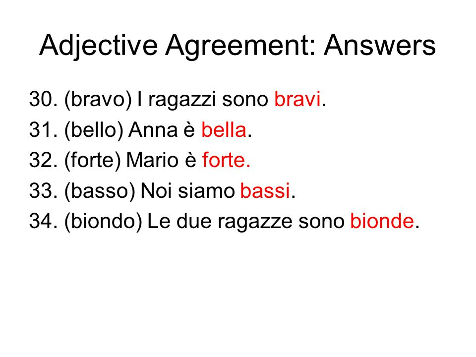 Adjective Agreement: Answers