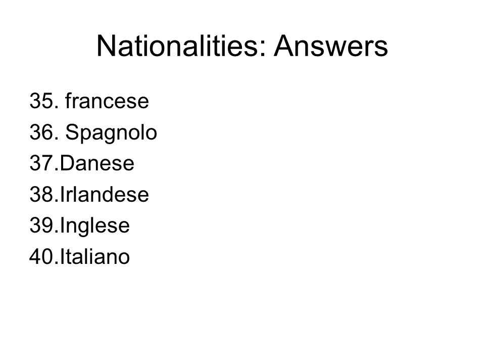 Nationalities: Answers