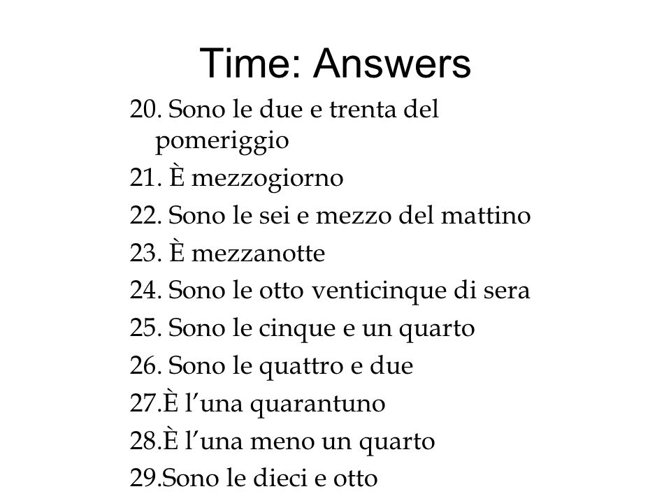 Time: Answers