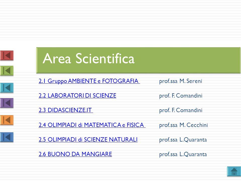 Area Scientifica 2.1 Gruppo AMBIENTE e FOTOGRAFIA prof.ssa M. Sereni