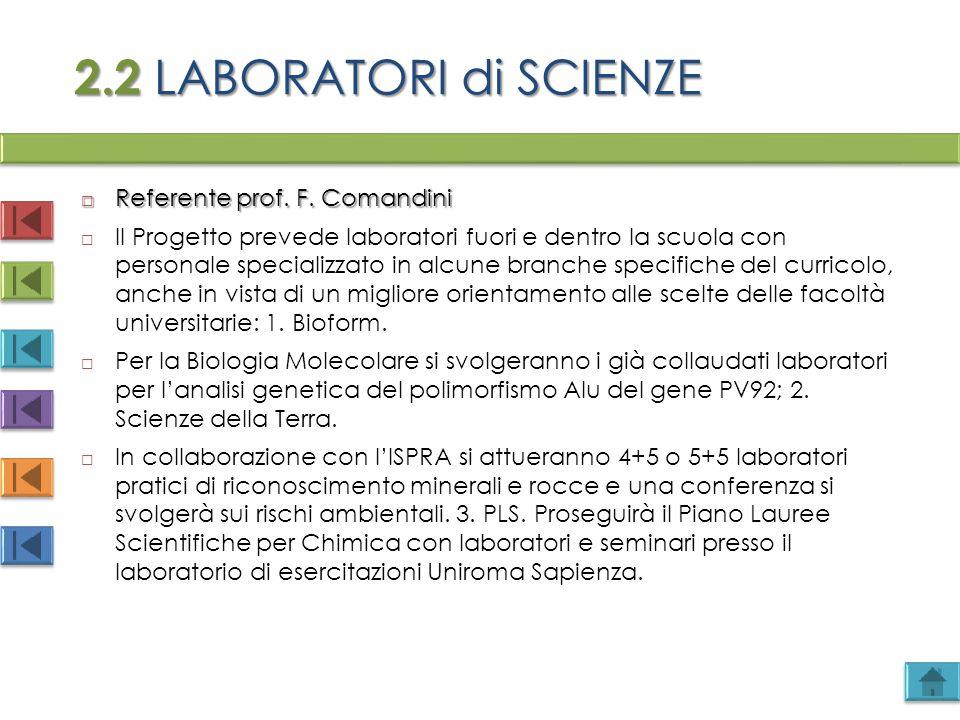 2.2 LABORATORI di SCIENZE Referente prof. F. Comandini