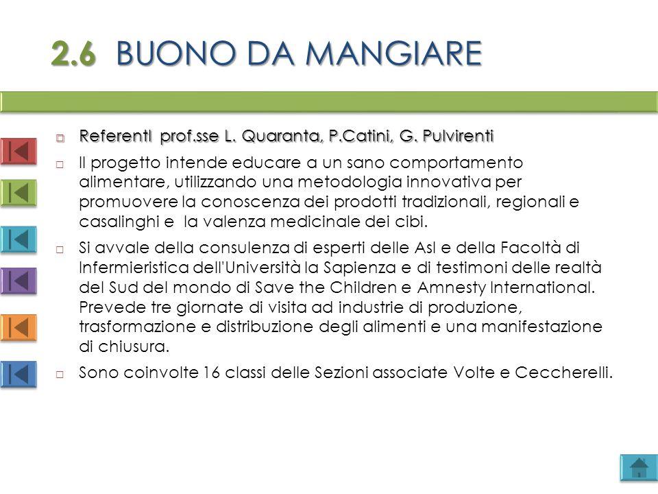 2.6 BUONO DA MANGIARE ReferentI prof.sse L. Quaranta, P.Catini, G. Pulvirenti.