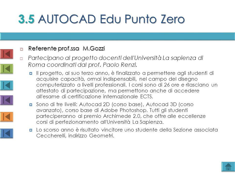3.5 AUTOCAD Edu Punto Zero Referente prof.ssa M.Gozzi