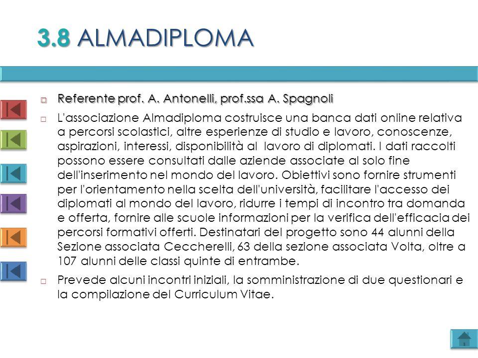 3.8 ALMADIPLOMA Referente prof. A. Antonelli, prof.ssa A. Spagnoli