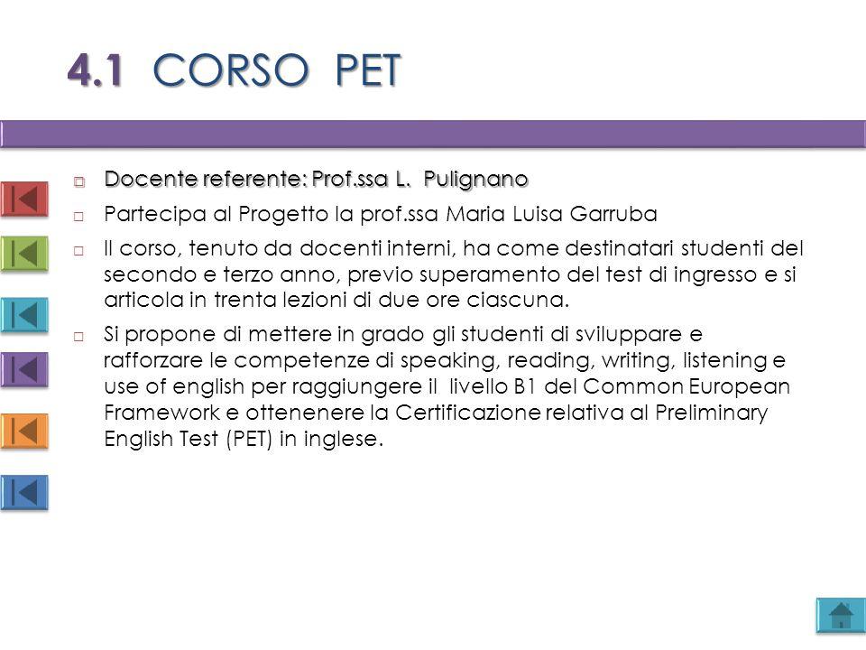 4.1 CORSO PET Docente referente: Prof.ssa L. Pulignano