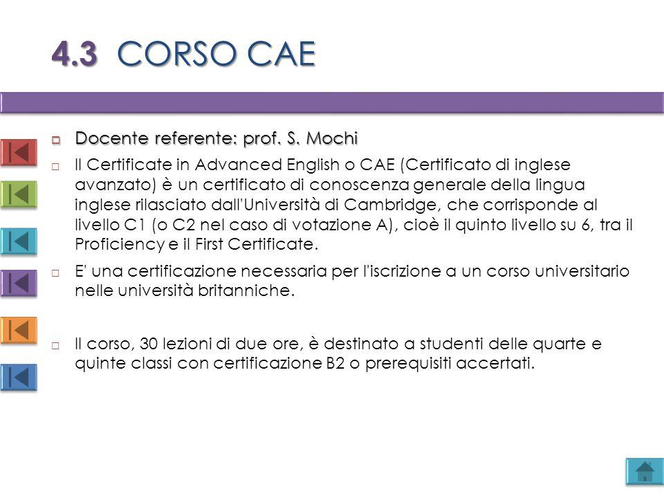 4.3 CORSO CAE Docente referente: prof. S. Mochi