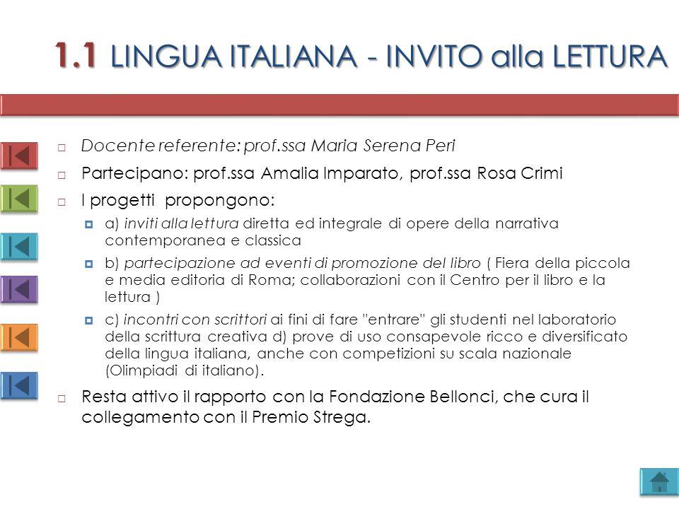 1.1 LINGUA ITALIANA - INVITO alla LETTURA