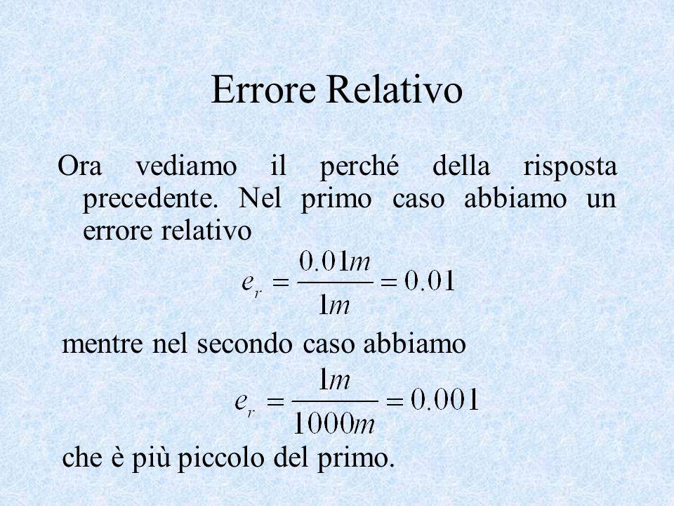 Errore RelativoOra vediamo il perché della risposta precedente. Nel primo caso abbiamo un errore relativo.