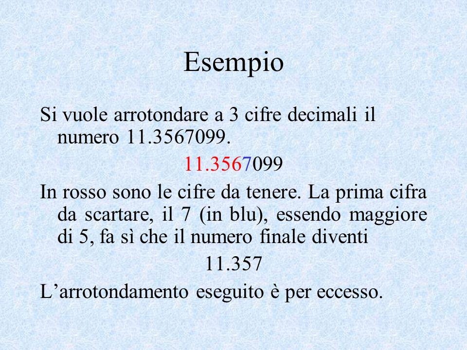 Esempio Si vuole arrotondare a 3 cifre decimali il numero 11.3567099.