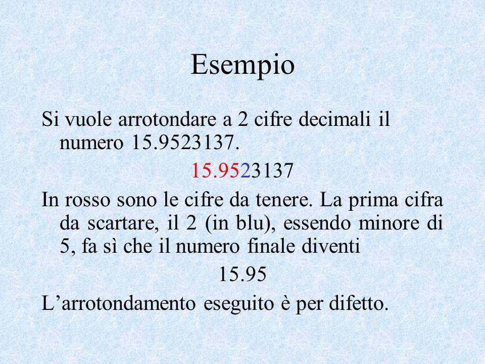Esempio Si vuole arrotondare a 2 cifre decimali il numero 15.9523137.