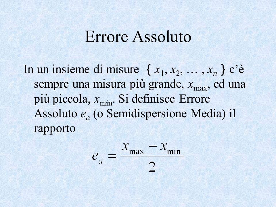 Errore Assoluto