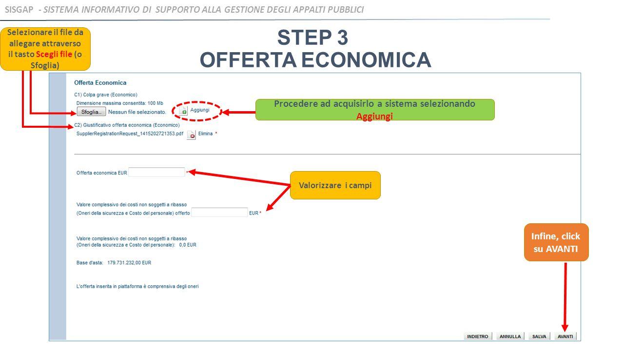STEP 3 OFFERTA ECONOMICA