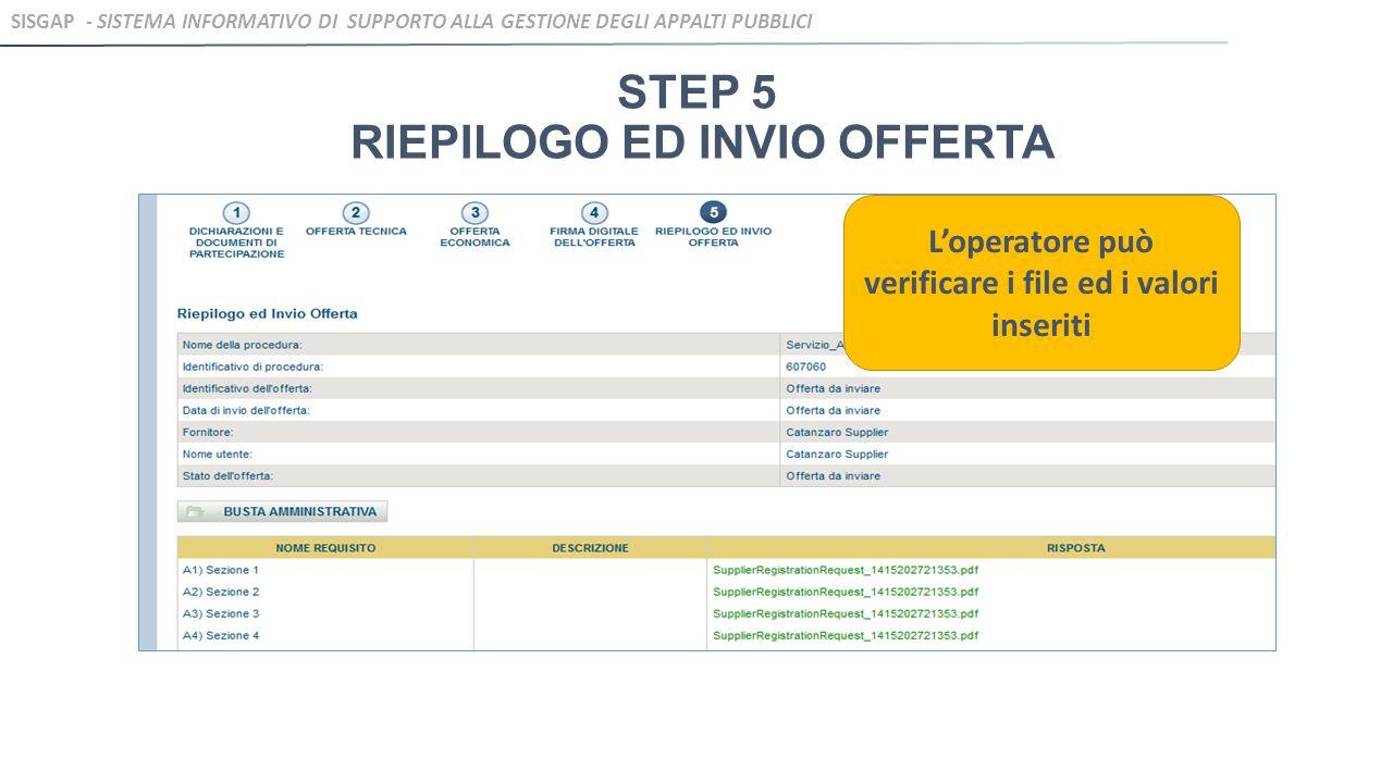 STEP 5 RIEPILOGO ED INVIO OFFERTA