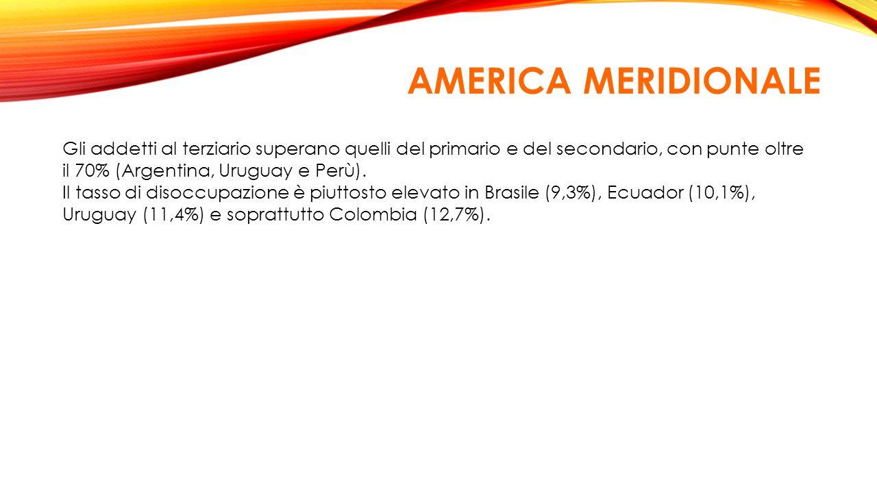 AMERICA MERIDIONALE Gli addetti al terziario superano quelli del primario e del secondario, con punte oltre il 70% (Argentina, Uruguay e Perù).
