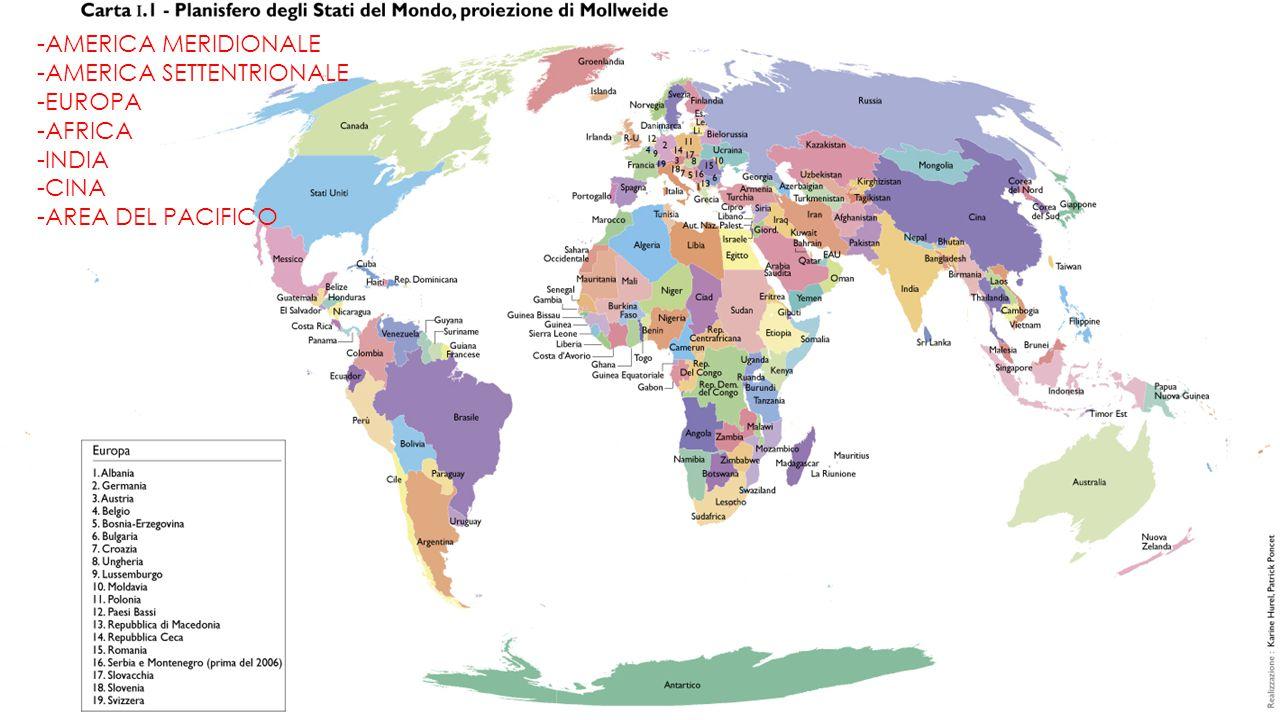 -AMERICA MERIDIONALE -AMERICA SETTENTRIONALE -EUROPA -AFRICA -INDIA -CINA -AREA DEL PACIFICO