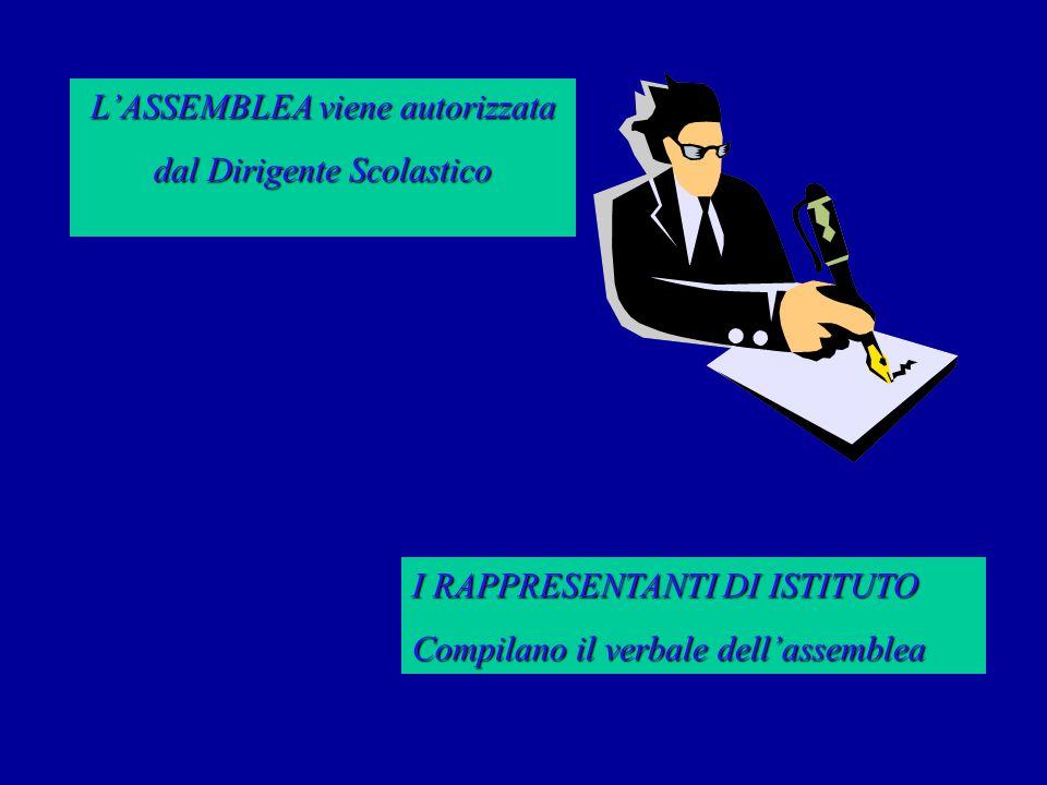 L'ASSEMBLEA viene autorizzata dal Dirigente Scolastico